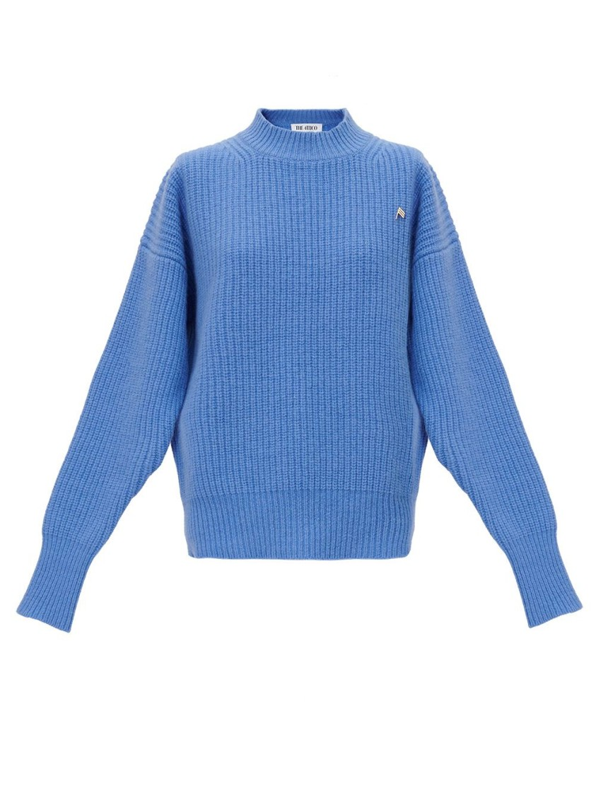 Attico BLUE RIBBED WOOL SWEATER