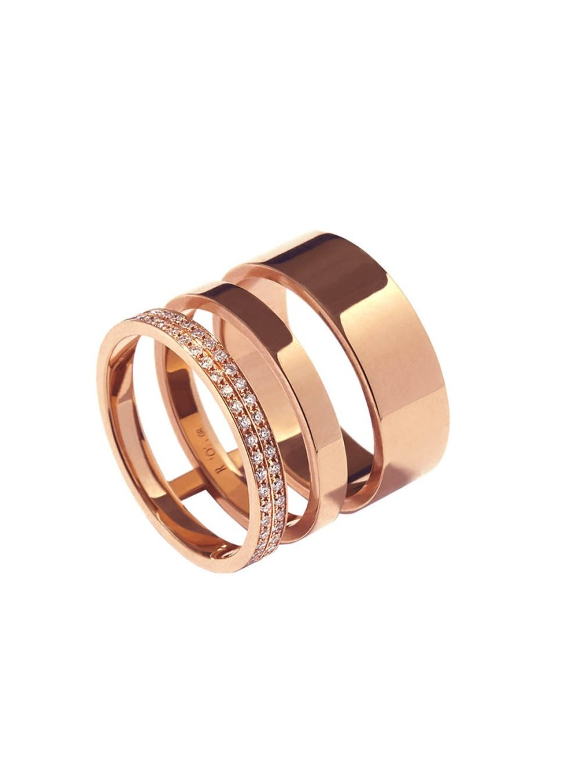 Repossi Gold Ring 3 Rows Rose Gold In Not Applicable