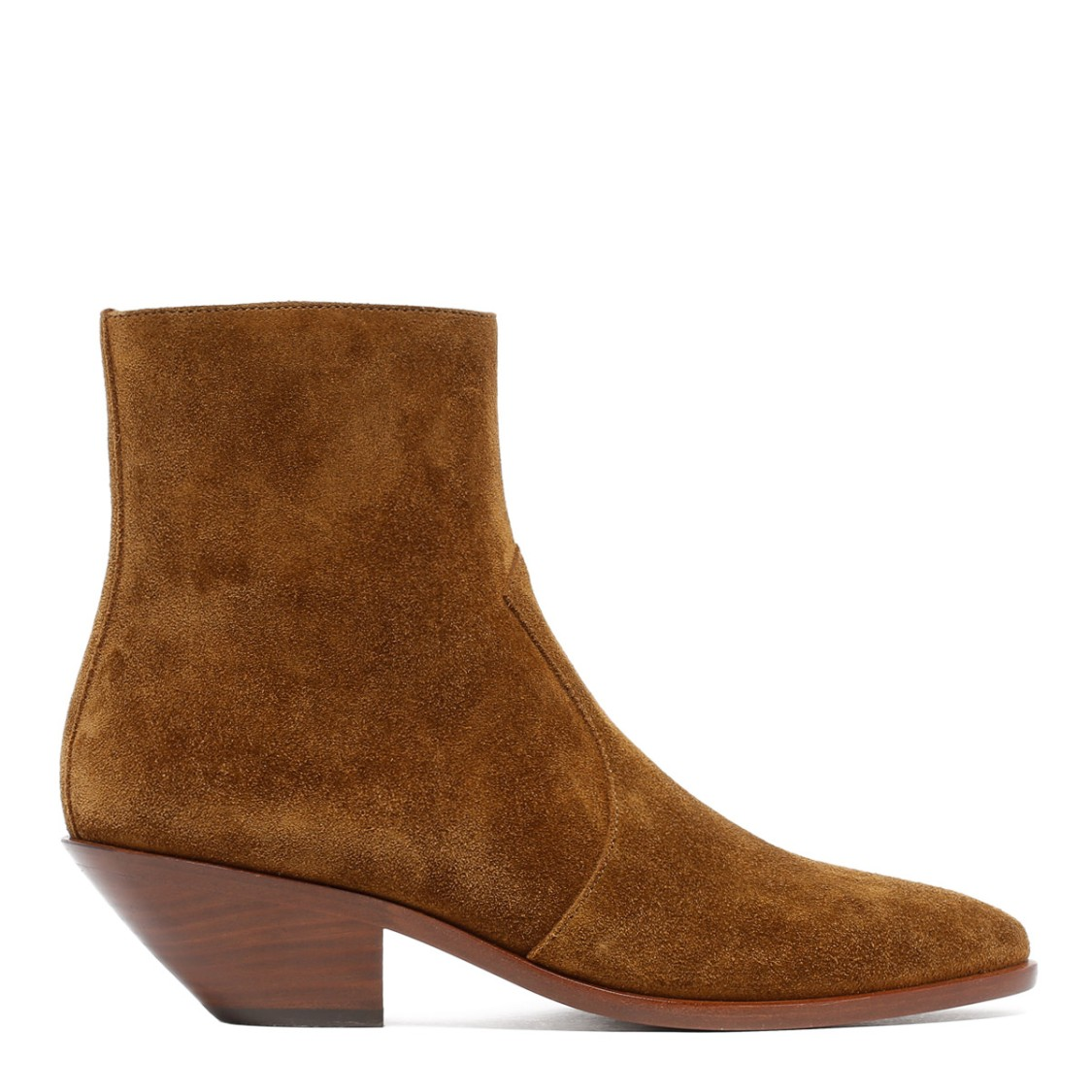 Saint Laurent TAN SUEDE LEATHER WESTERN ANKLE BOOTIES