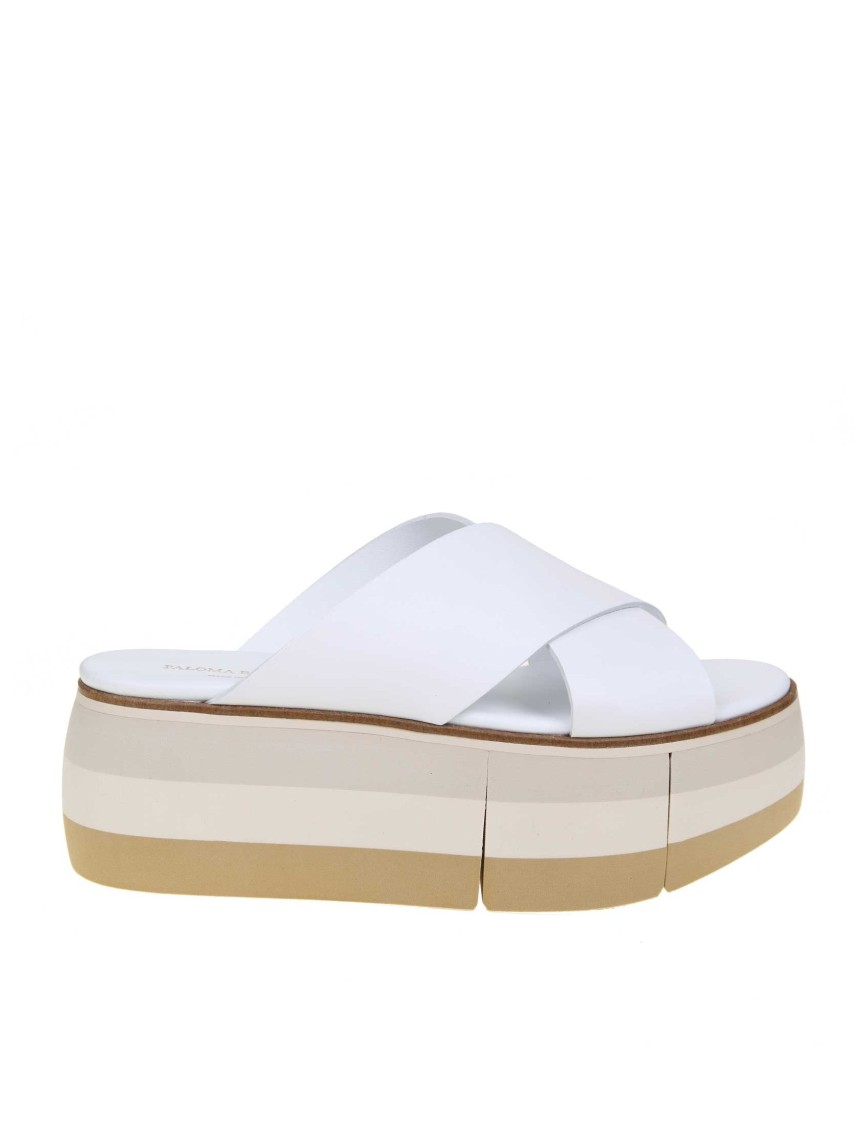 Paloma Barceló Platforms WHITE LEATHER SANDAL