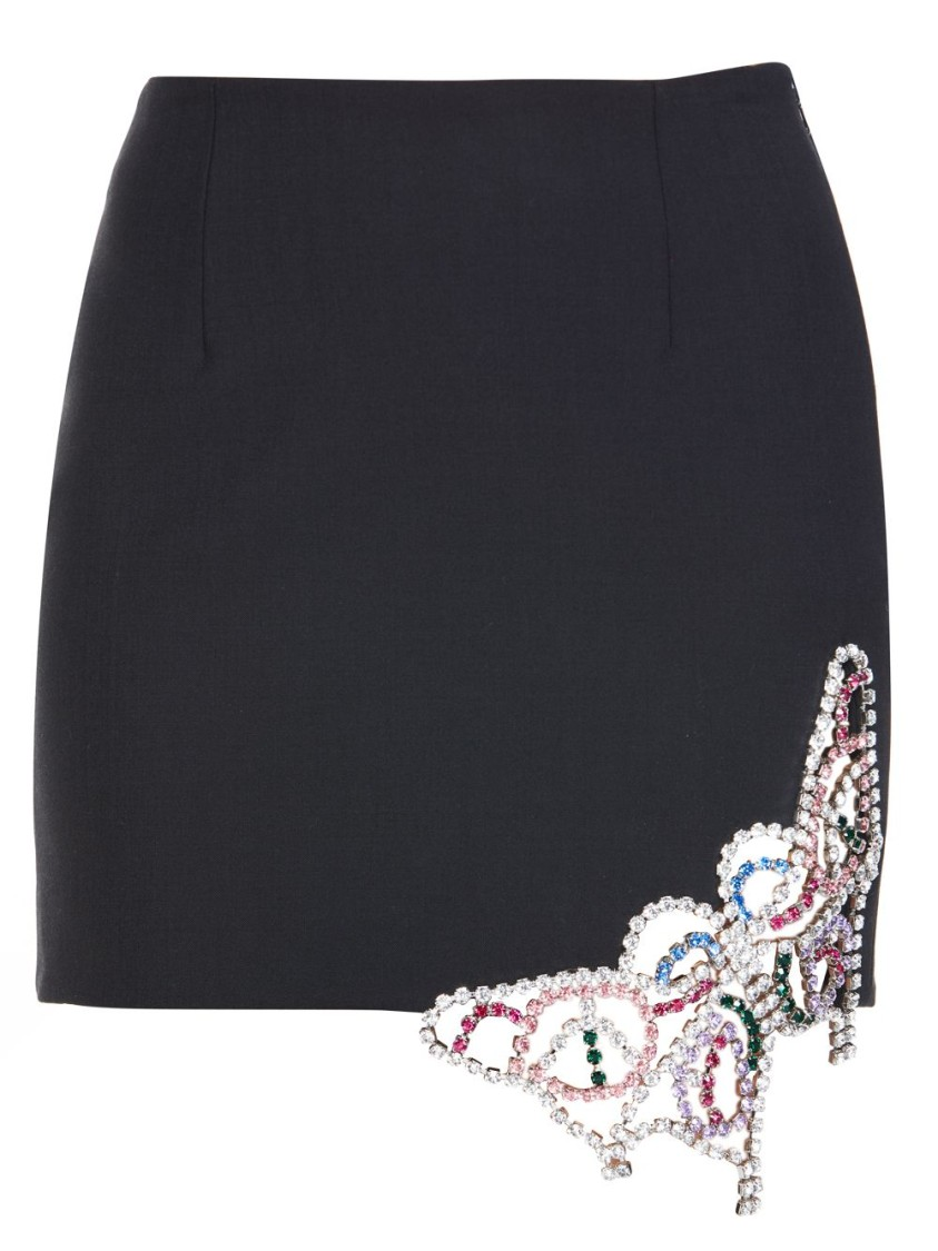 Area Silks BLACK EMBELLISHED MINI SKIRT