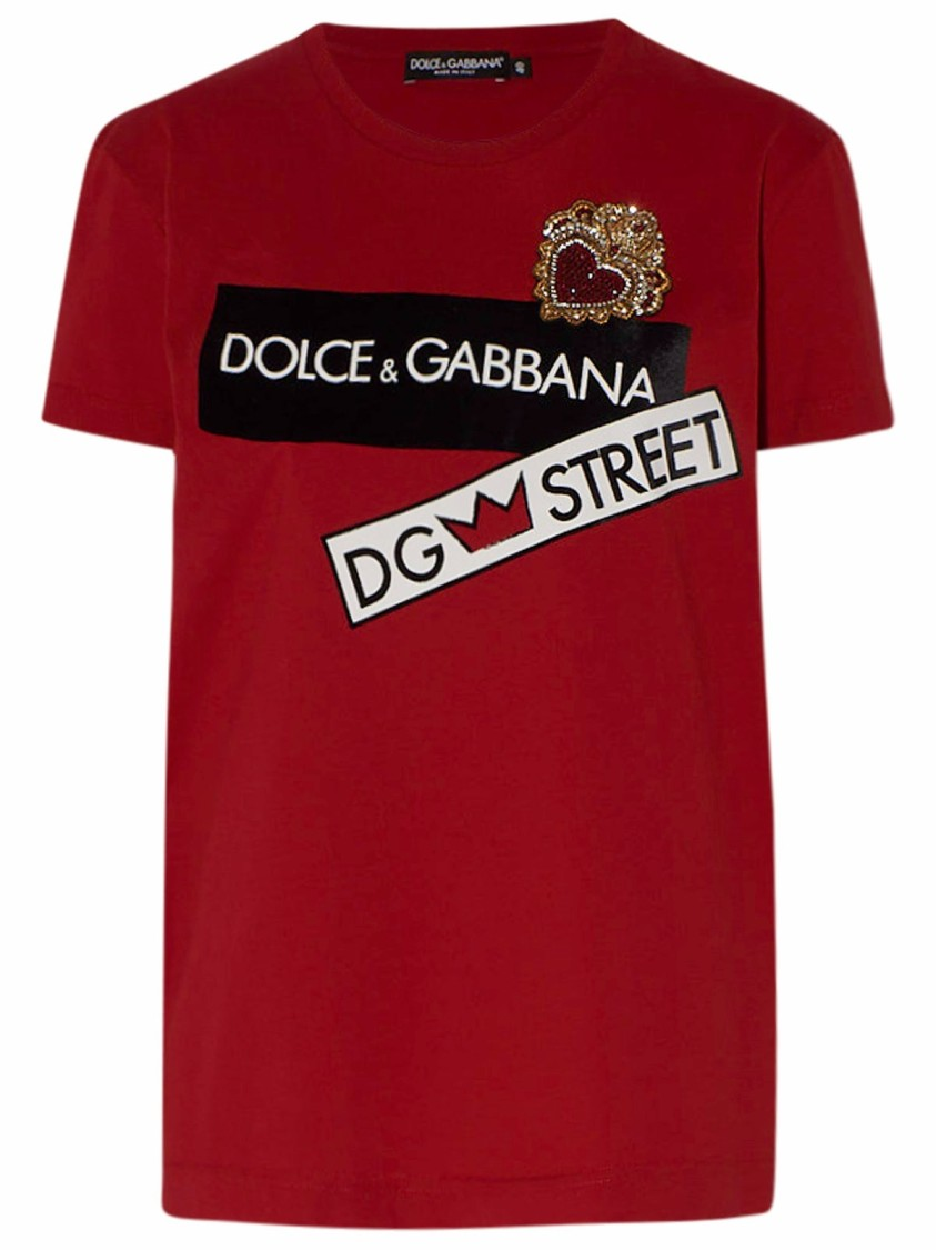 Dolce & Gabbana Cottons RED COTTON T-SHIRT