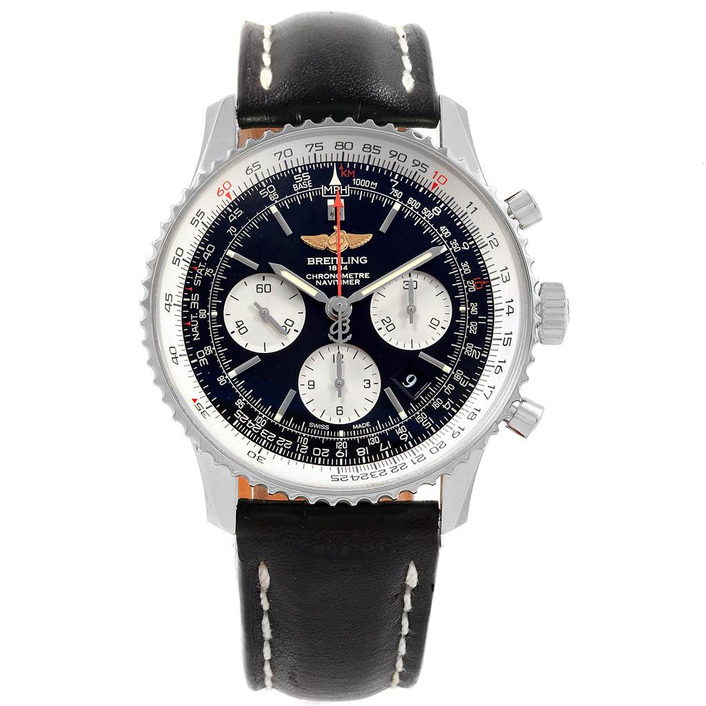 Breitling Cases NAVITIMER 01 BLACK DIAL STEEL MENS WATCH AB0120 BOX PAPERS
