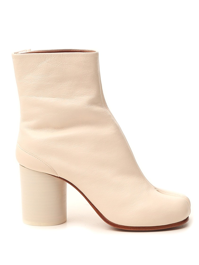 MAISON MARGIELA WHITE LEATHER ANKLE BOOTS