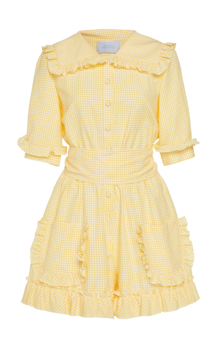 Luisa Beccaria Yellow Gingham Jumpsuit In Neutrals
