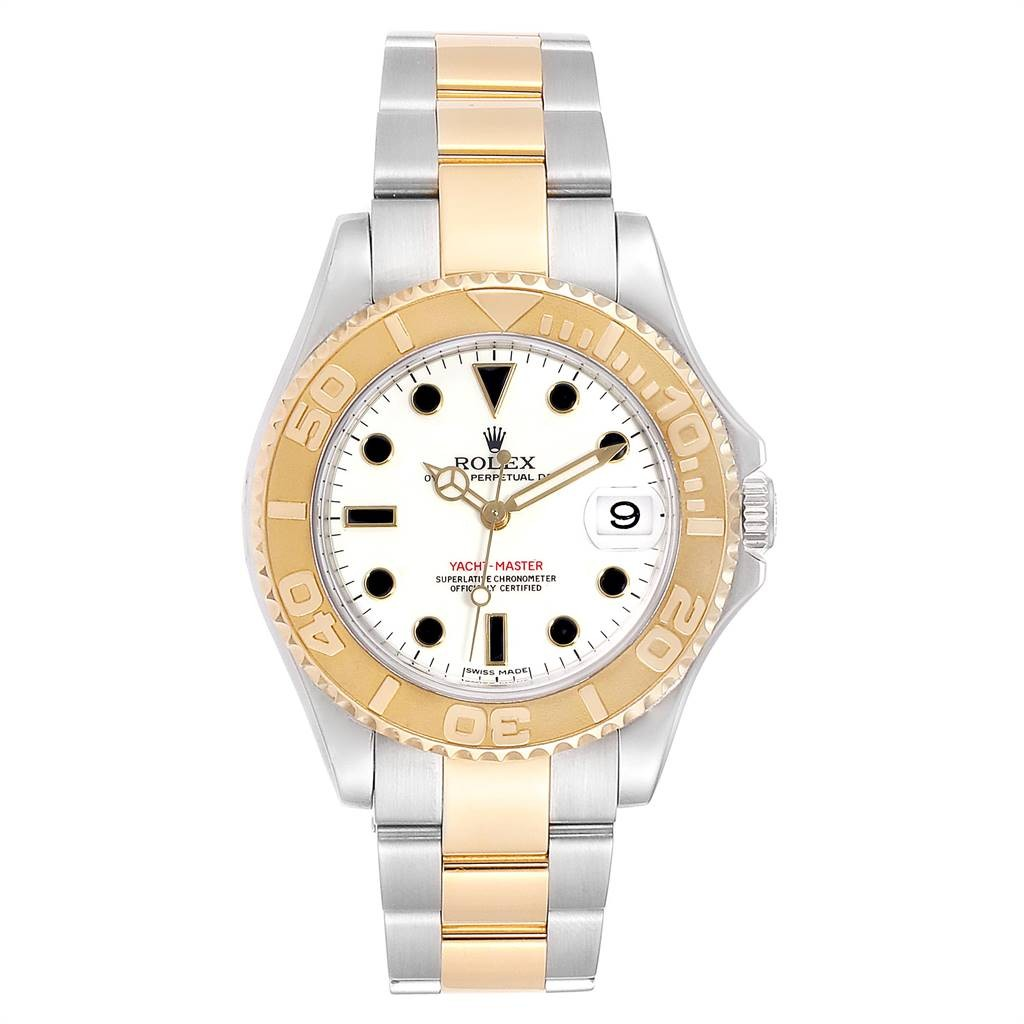 Rolex Lingerie YACHTMASTER 35 MIDSIZE STEEL YELLOW GOLD WHITE DIAL WATCH 168623