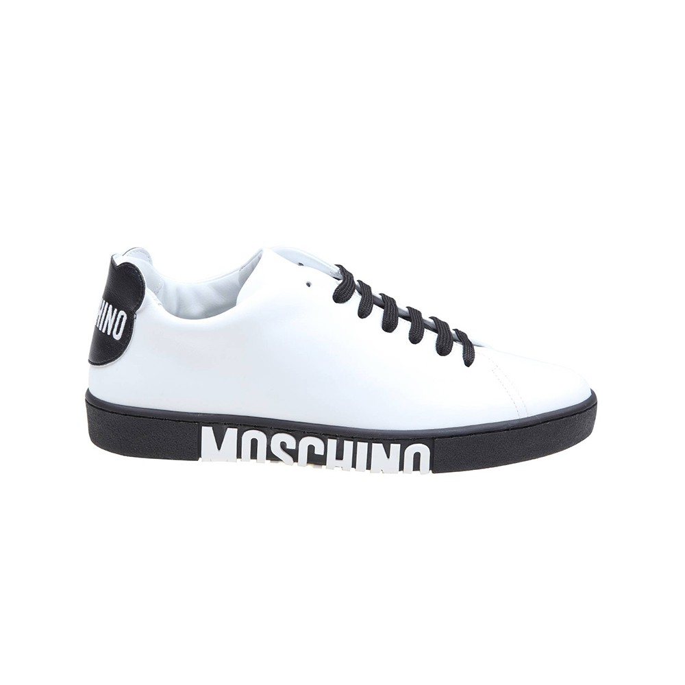 Moschino WHITE/BLACK LEATHER SNEAKERS