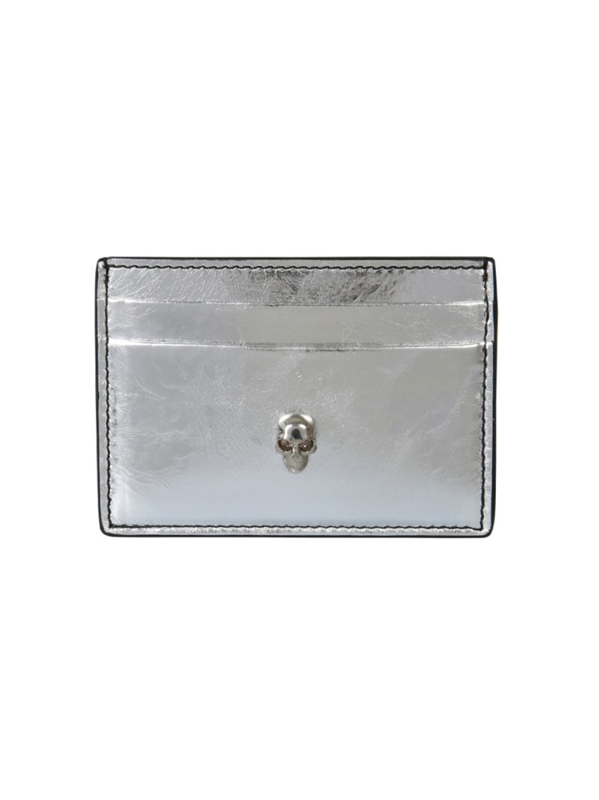 Alexander Mcqueen Cardholders SILVER LEATHER CARD HOLDER