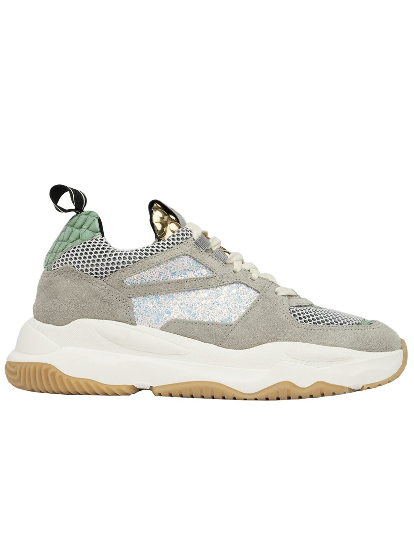 P448 GREY LEATHER SNEAKERS