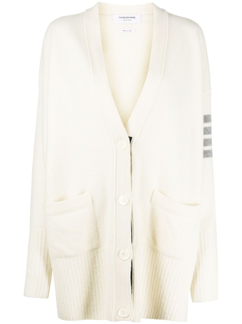 THOM BROWNE EXAGGERATED FIT V-NECK CARDIGAN, WHITE