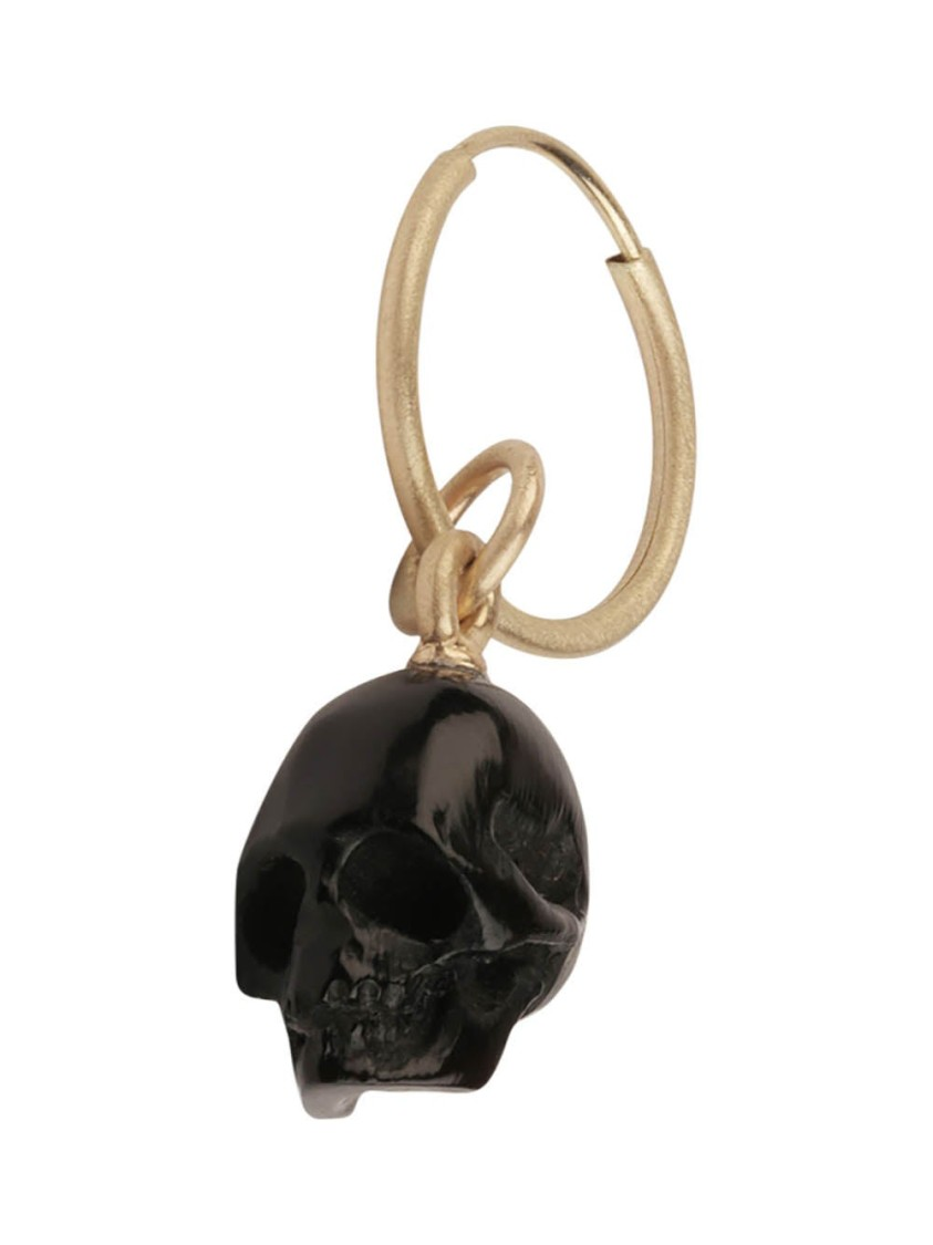 M. Cohen GOLD MEN'S BLACK SKULL SINGLE EARRING