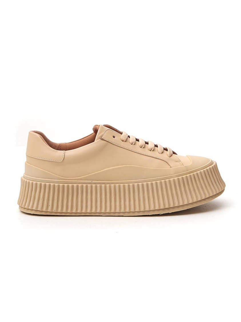 Jil Sander BEIGE LEATHER SNEAKERS