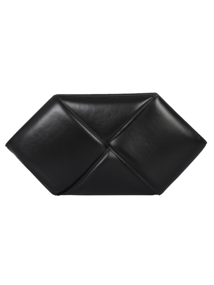 Bottega Veneta MAXI BRAIDED BLACK LEATHER CLUTCH