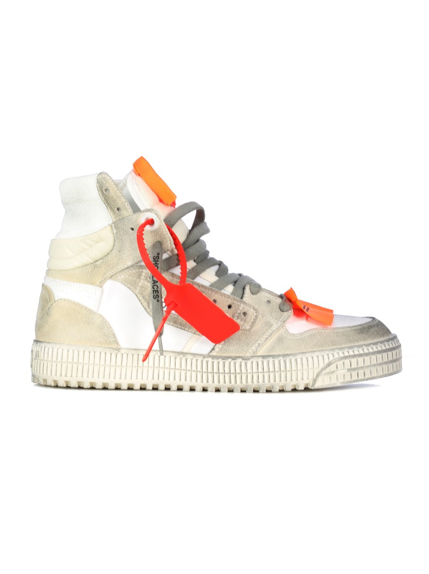 Off-White Off-Court 3.0 Distressed Suede, Leather And Canvas High-Top Sneakers In Neutrals