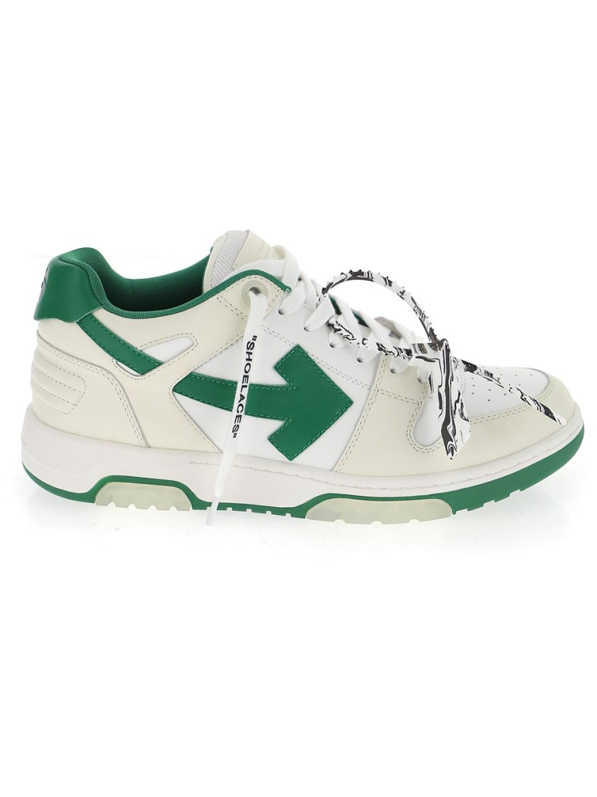 Off-White Leathers WHITE/GREEN LEATHER SNEAKERS