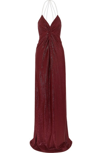 Michelle Mason CRYSTAL-EMBELLISHED LUREX GOWN