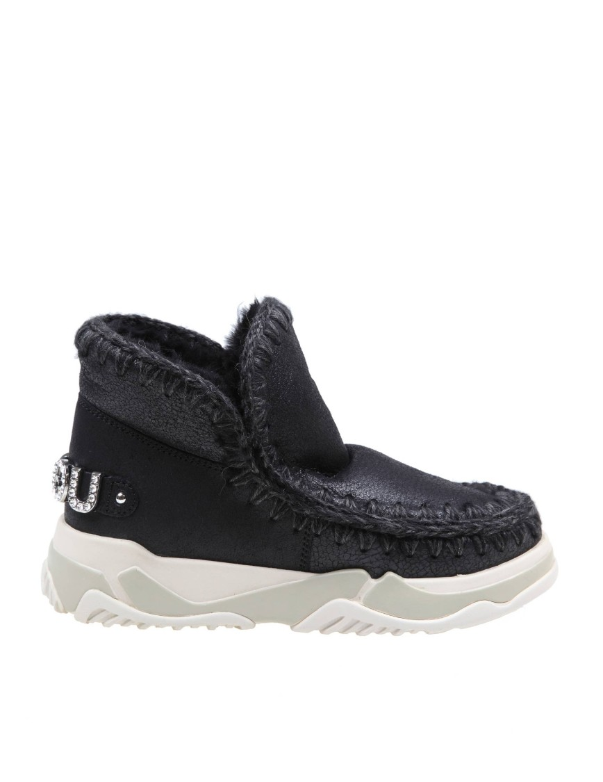 Mou SNEAKERS ESKIMO TRAINER IN BLACK LEATHER