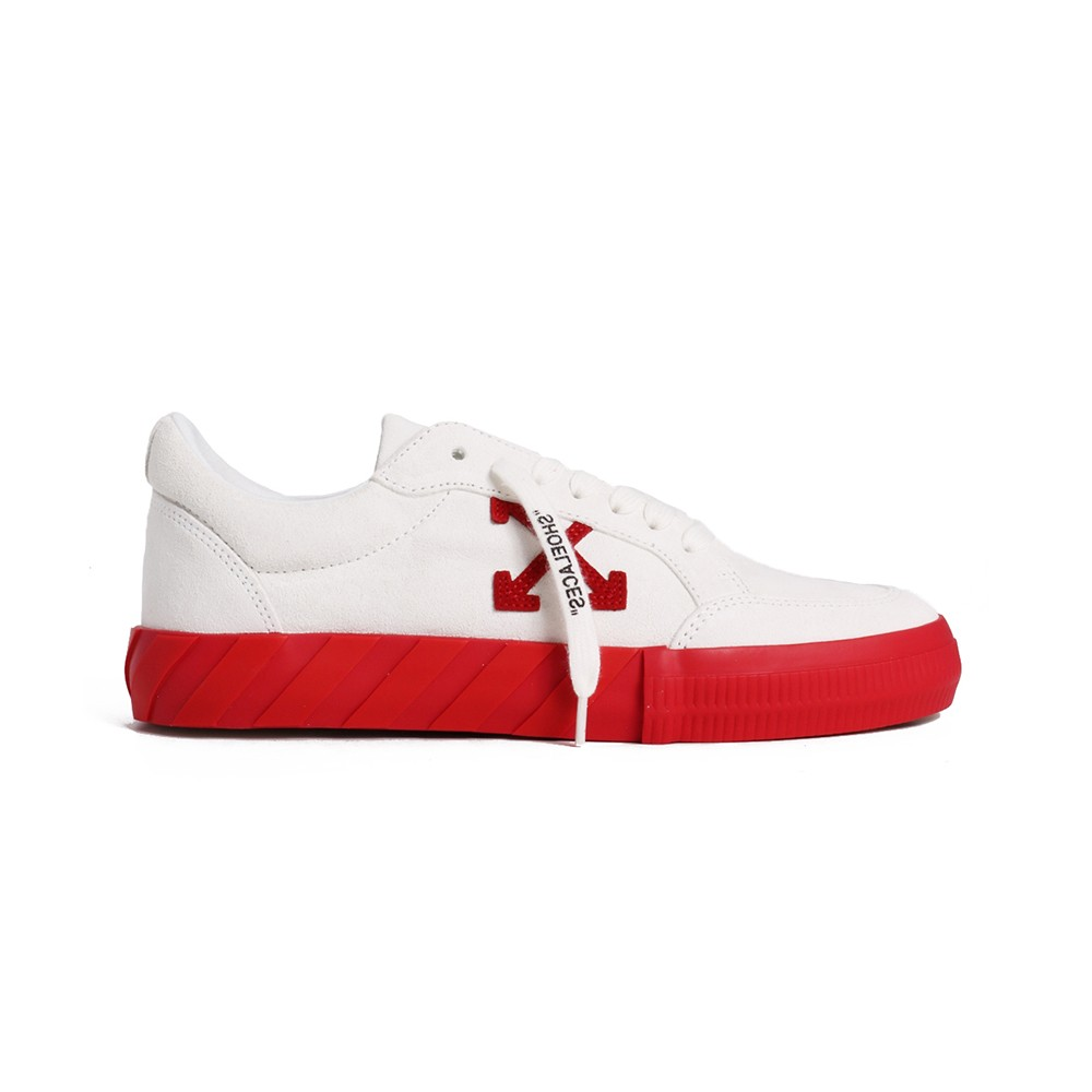 Off-White White/Red Leather Sneakers