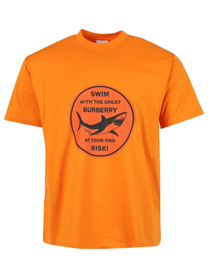 Burberry Cottons OVERSIZED SHARK GRAPHIC T-SHIRT, ORANGE