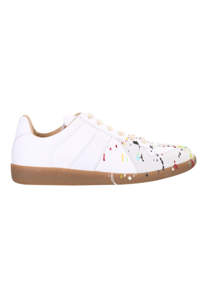 Maison Margiela Leathers REPLICA WHITE LEATHER SNEAKERS