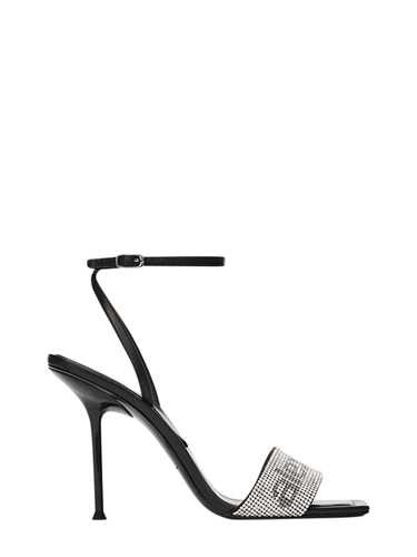 Alexander Wang BLACK 'JULIE CRYSTAL LOGO' SANDALS