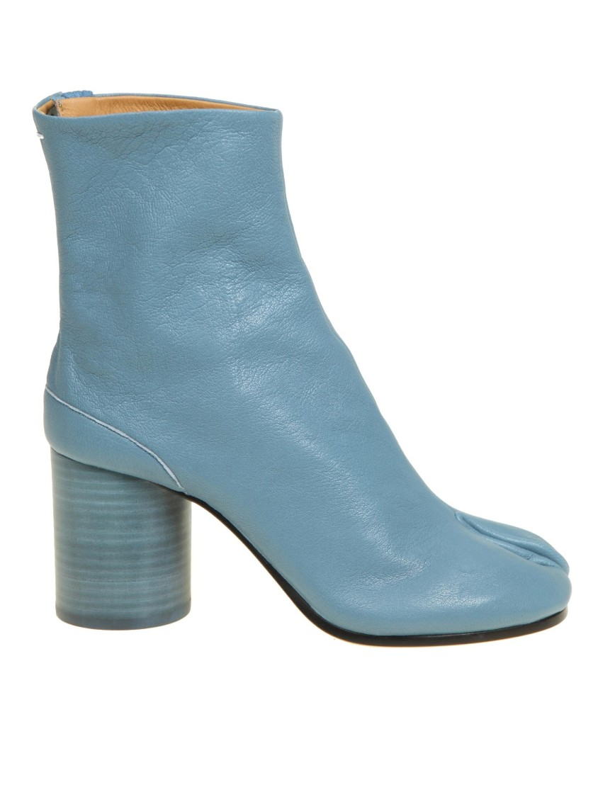 Maison Margiela LIGHT BLUE LEATHER ANKLE BOOTS