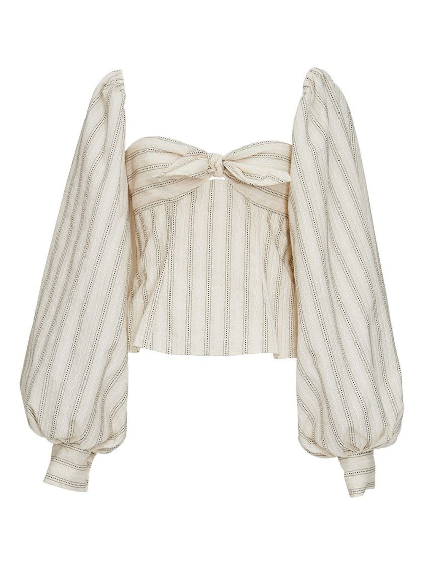 ATTICO STRIPED FRONT KNOT BLOUSE
