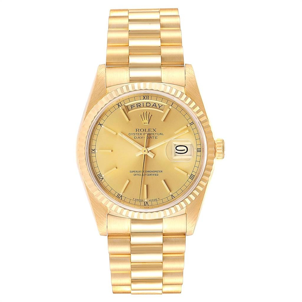 Rolex Lingerie PRESIDENT DAY-DATE 36 YELLOW GOLD CHAMPAGNE DIAL MENS WATCH 18238
