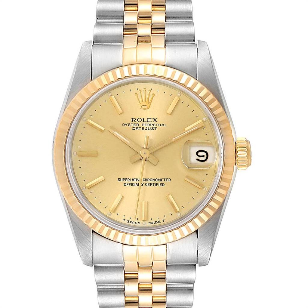 Rolex DATEJUST MIDSIZE STEEL YELLOW GOLD BATON DIAL LADIES WATCH 68273
