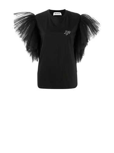 Brognano BLACK T-SHIRT WITH TULLE SLEEVES