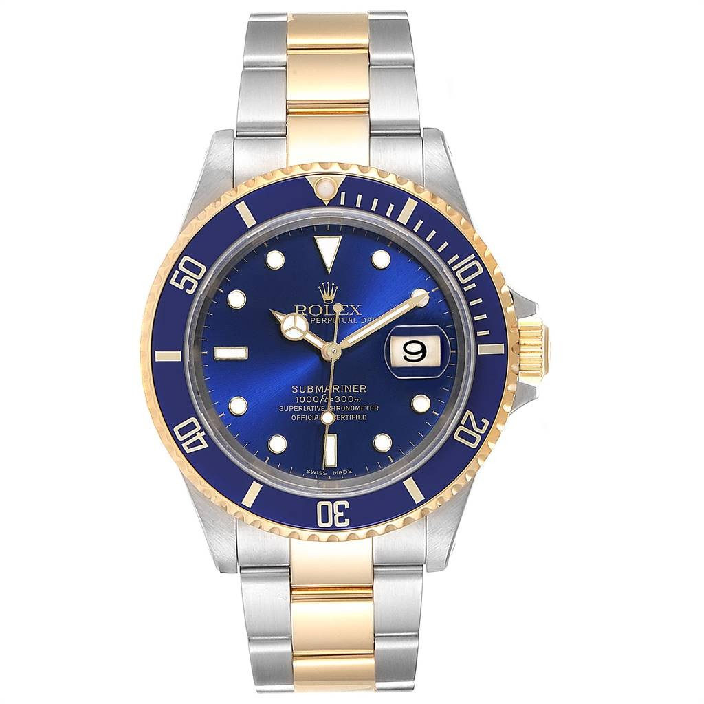 Rolex Lingerie SUBMARINER BLUE DIAL STEEL YELLOW GOLD MENS WATCH 16613 BOX PAPERS