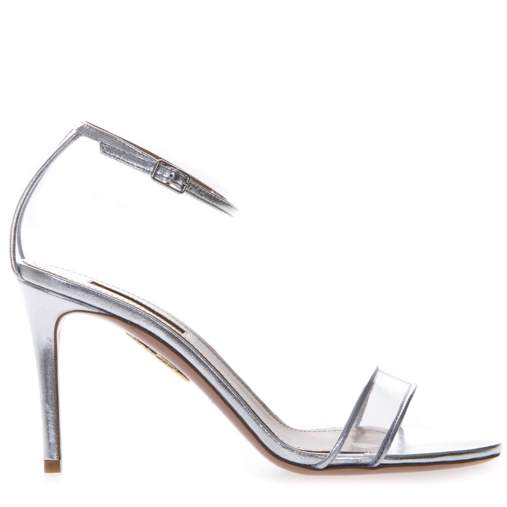 Aquazzura Silver Leather Amp Pvc Sandals In Grey Modesens