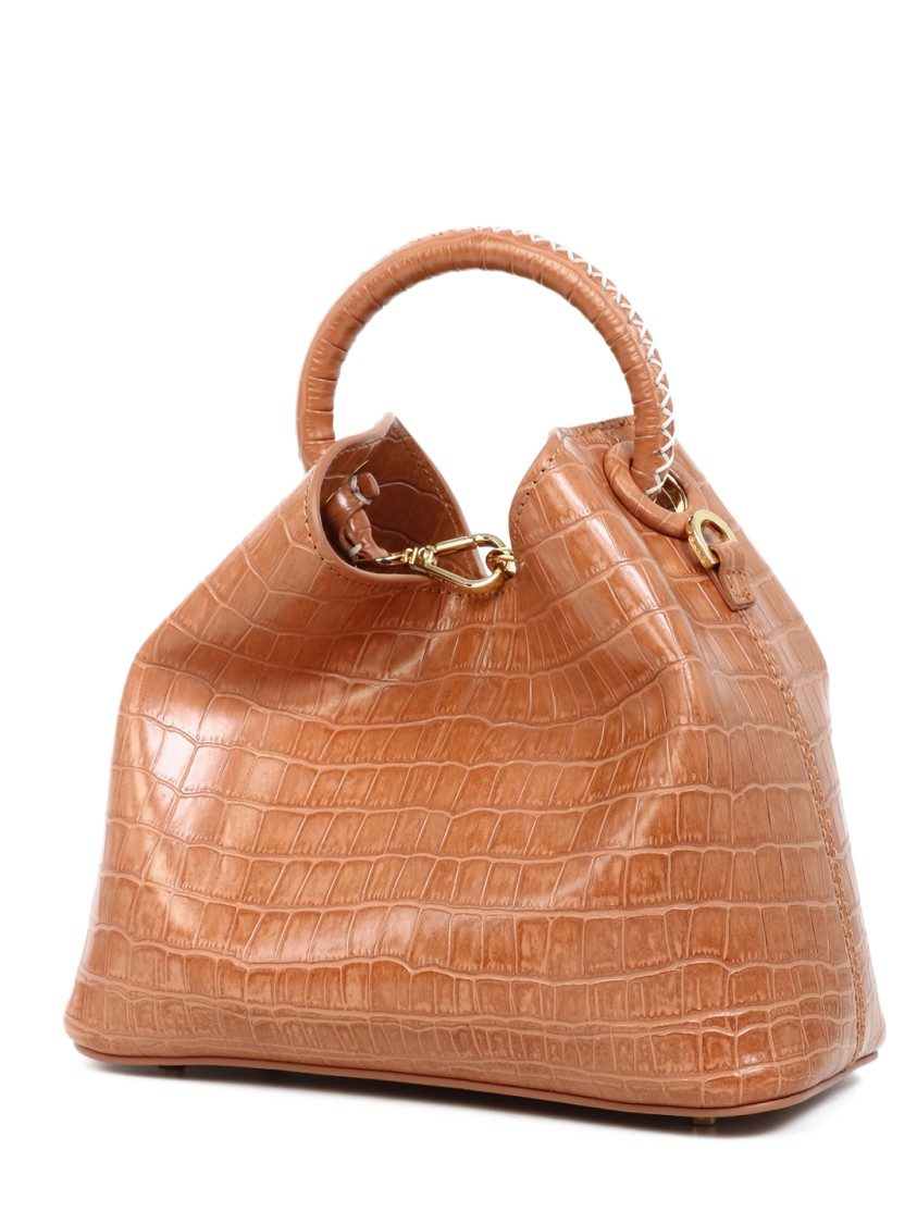 Elleme Orange Leather Handbag In Brown