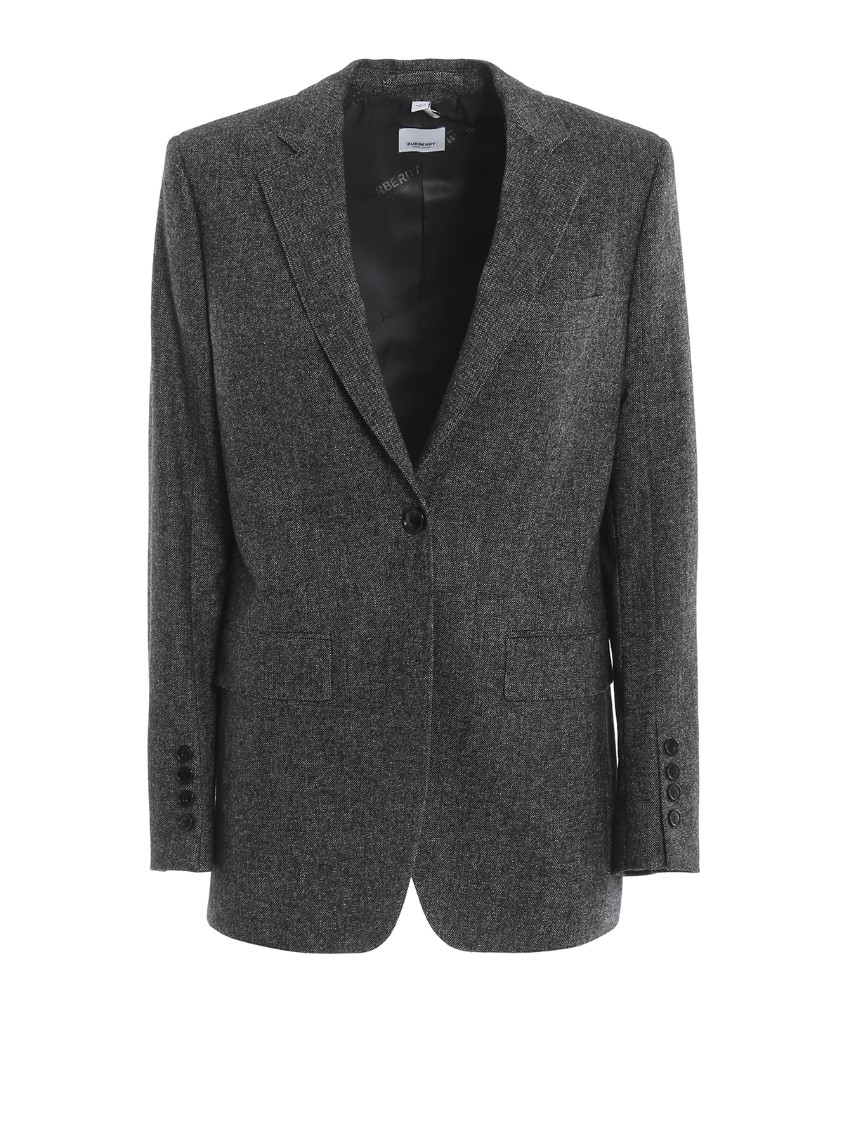 Burberry Marled Wool-Cashmere Boxy Tailored Blazer Jacket In Black