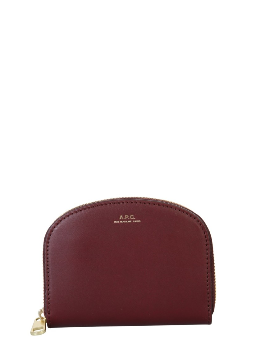 A.p.c. DEMI LUNE BURGUNDY LEATHER WALLET